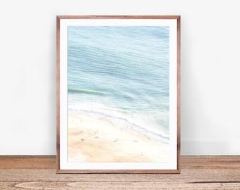 Beach People Print, Busy Beach Print, Ocean Water Print, Beach Life, Aerial Beach Print, Coastal Decor, Ocean Wall Art, Large Poster