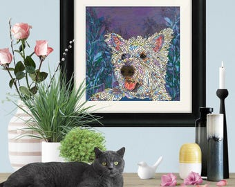 Framed and/or Mounted Westie Art Print, West Highland Terrier Art, Westie Print, Pet Art, 8 x 8/12 x 12/16 x 16 inches