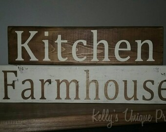 Farmhouse Kitchen Wooden Block Signs Home Decor Farmhouse Decor Kitchen Decor Country Decor Rustic Fixer Upper Style