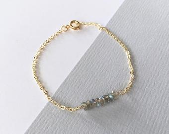 LABRADORITE BRACELET 14K gold filled, gold, refined, minimalistic, delicate grey gemstone bar bracelet, gift for her, by Little Motives