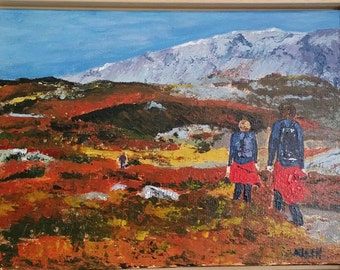 """painting in acrylic """"Autumn in Norway"""" on canvas cloth 30 x 40 cm"""