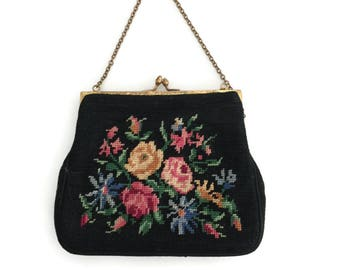 Black Needle Point Purse with Flowers