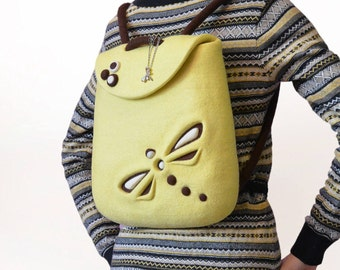 Lemon Wool Backpack, Hand Felted Yellow Gift Backpack with Felt Dragonfly, Ready To Ship