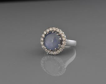 18K White Gold Natural Star Sapphire and Diamond Ring | Unique Engagement Ring | Wedding Ring | Handmade Fine Jewelry | Diamond Halo