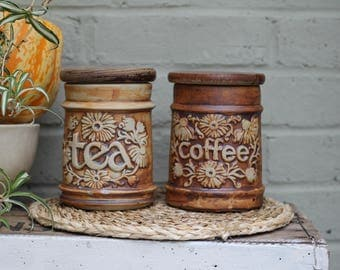 Lovely Vintage Quantock Studio Pottery Tea and Coffee Jars With Lids/ Circa 1970's