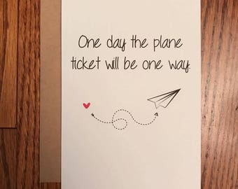 One Way Plane Ticket Long Distance Greeting Card
