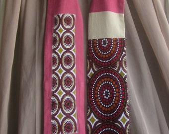 """The """"Ankara Connection"""" - OOAK Clergy Stole features pieced Ankara Fabric and Upcycled Fabrics 50"""" x 4.75"""" - Ready to Ship"""