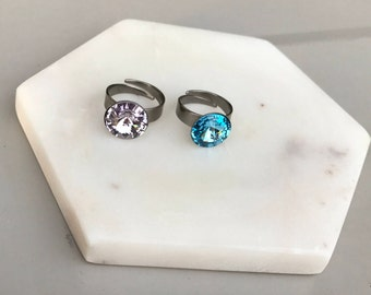 Swarovski Crystal Adjustable Rings