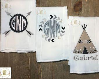Personalized Burp Cloths (3pc. Set). Tribal Theme, Boys, girls, Monogrammed, Teepee, Arrows