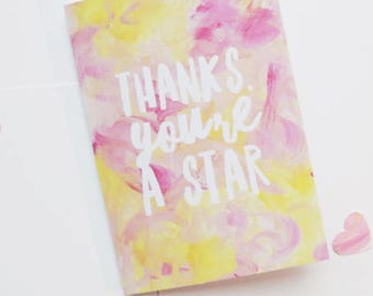 Thanks you're a star - pretty thank you card