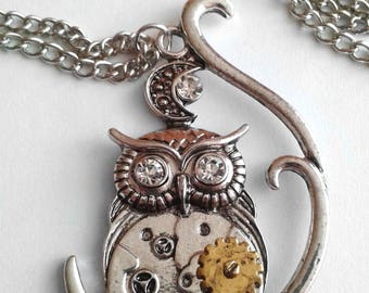 Steampunk Owl Sterling Silver Necklace