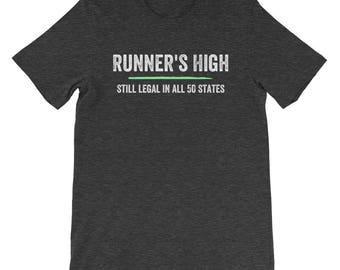 Runner's High Legal All 50 States Funny Runner Running Run Athletic Sports Marathon Training Coach Track Field Sprinting Jogging Shirt