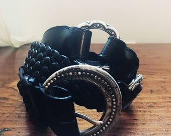 Vintage Designer Brighton Braided Western Biker Style Black Leather and Silver Belt Womens Size 36