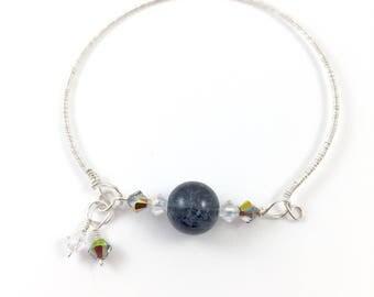 Silver bangle with Black stone and Swarovski crystals