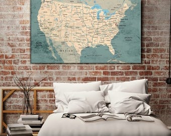 Usa Map Canvas Etsy - Us map canvas wall art