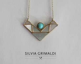 Gold plated nacre and turquoise geometric necklace