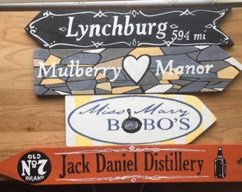 Any Custom Set of 4 signs, Jack Daniel's Decor, Jack Daniel's painting, Directional sign, Custom mileage sign, destination signs