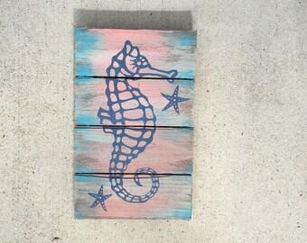 Seahorse painting, Seahorse art, Beach patio art, Ocean Art, Coastal Decor