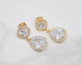 Yellow gold wedding jewellery earrings Bridal jewelry Crystal pendant earrings
