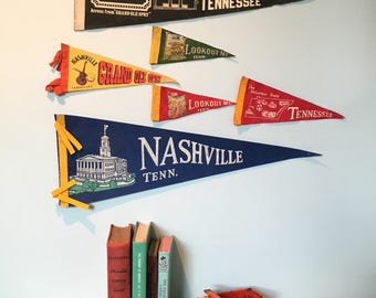 Lot of Vintage Tennessee Pennants (Set of 6) Nashville, Tennessee, Grand Ole Opry, Lookout Mountain