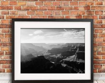 Grand Canyon, Grand Canyon Print, Black and White Print, Landscape photography, Arizona Print, Grand Canyon Art, Travel Photography, Print