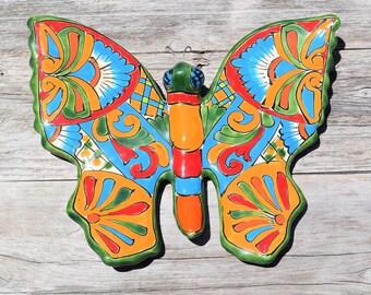 Talavera Ceramic Butterfly Home Kitchen Patio Garden Pottery Decor Mexican Talavera Ceramic