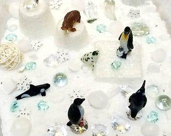Winter Sensory Tub, Frozen Snow Pretend Play, Snow and Icebergs Small World Play, Open-ended, Loose Parts, Snow Sensory Bin, Reggio Emilia