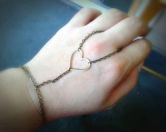 Heart Slave Bracelet Heart Hand Chain Brass Slave Bracelet Brass Hand Chain Bohemian Slave Bracelet Women's Hand Chain