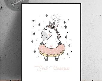 Affiche illustration d'une licorne avec son beigne soit unique. Affiche chambre fille, pouponnière nursery , decor pastel, affiche licorne