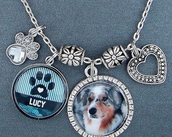 Dog or Cat Custom Photo Charm Necklace With Your Pet's Name And Photo, Rhinestone Paw Print, Great Gift For Pet Lover's, Your Color Choice