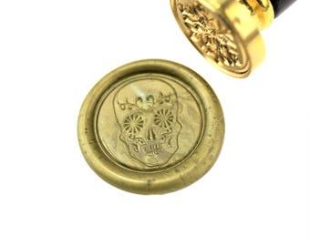 Floral skull  wax seal stamp/fancy skull  wax seal stamp/ wax sealing kit /Custom wax seals/invitation wax  seal/SS