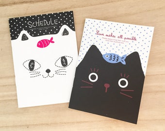 2 pcs Black & White Cat Notebook - Fish Korean Stationery Small Note Book