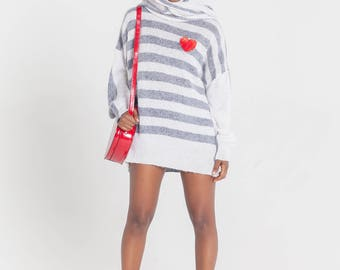 Striped sweater Mohair sweater Designer clothing Knitted striped pullover Crewneck Striped turtleneck Oversized Designer knitwear Loose knit