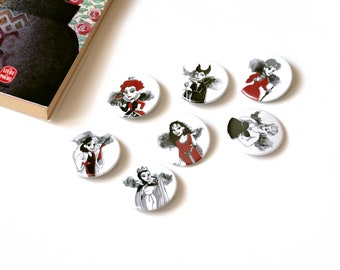 Set of 7 badges of the bad girls