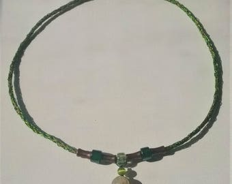 Green and Copper Viking Knit Necklace