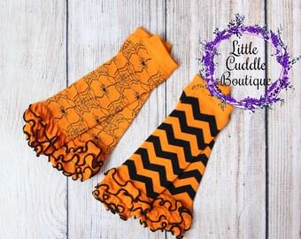 Halloween Leg Warmers, Orange And Black Leg Warmers, Halloween Chevron Leg Warmers, Photo Prop, Spider Leg Warmers, Halloween Leggings