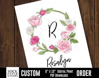 Printable Print, Floral Wreath Monogram, Custom Monogram, nursery monogram, kids monogram, baby room decor, PDF Digital Download, Sku-CNA117