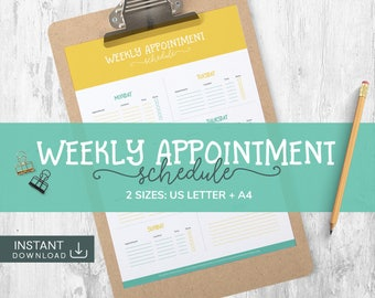 Weekly Agenda 2017, Agenda Daily Planner, Weekly Planner, A4 Daily Planner, A4 Printable Planner, Weekly Planner A4, Daily Schedule