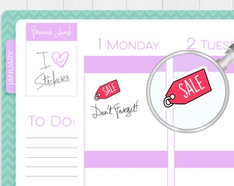 Sale Stickers, Planner Stickers, Sale Reminder Stickers, Calendar Stickers, Cute Kawaii Stickers, Small Stickers, Labels