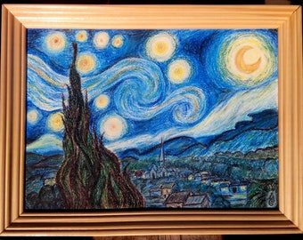 The Starry Night - Vincent van Gogh hand-painted oil pastel painting reproduction for home decor wall art or gift