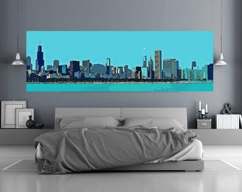 Chicago Skyline, Chicago City Canvas, Huge Chicago Wall Art, Canvas Print, City Life Pop Art Decor, Illinois Large Canvas Picture,US Travel