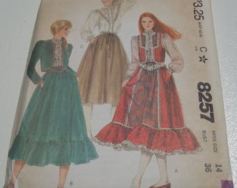 Misses' Vest or Jacket, Skirt and Blouse. Vintage Sewing Pattern. McCall's 8257. Size 14 (Bust 36). 1980s. Complete/ Uncut.