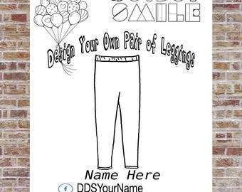 Leggings Coloring Page, Design a Pair of Leggings, DotDotSmile, Marketing