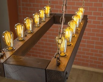 edison bulb chandelier rectangle fixture rustic lighting reclaimed wood lght beam light