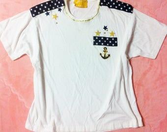 90s Vintage White Nautical T Shirt / White Vintage Nautical Shirt Top
