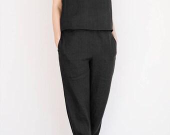 Black linen pants / Black linen pajamas / Linen sleepwear