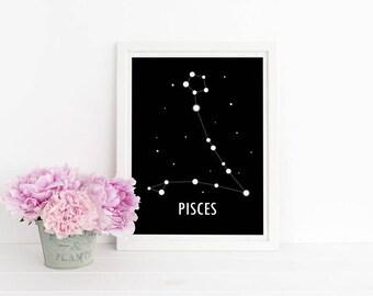 Pisces Poster / Constellation Print / Astronomy Poster / Zodiac Sign / Star Constellation / Scandinavian Art