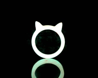 Glow in the dark Cat Animal ring Glowing ring Glow ring Gift for cat lovers Pink Glowing jewelry Handmade Luminous glow jewelry Gift for her
