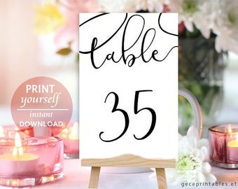 "21-40 Wedding Table Numbers: Printable Wedding Decor, Reception Table Number Card, DIY wedding printable number 5x7 "" 4x6 "" download PDF"