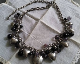 Necklace glass beads and silver plated hearts vintage french